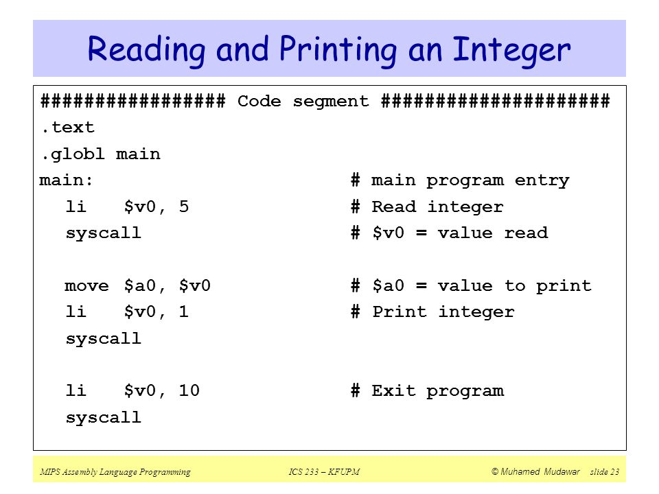 Reading and Printing an Integer