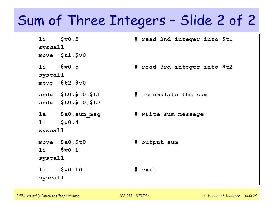Sum of Three Integers – Slide 2 of 2