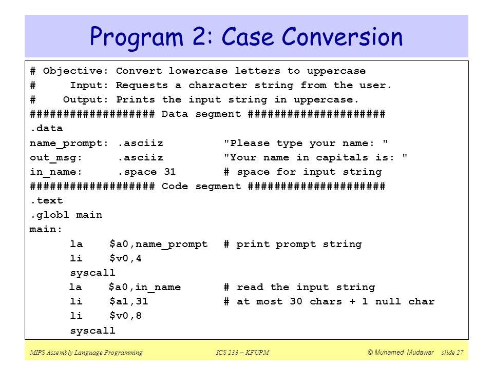 Program 2: Case Conversion