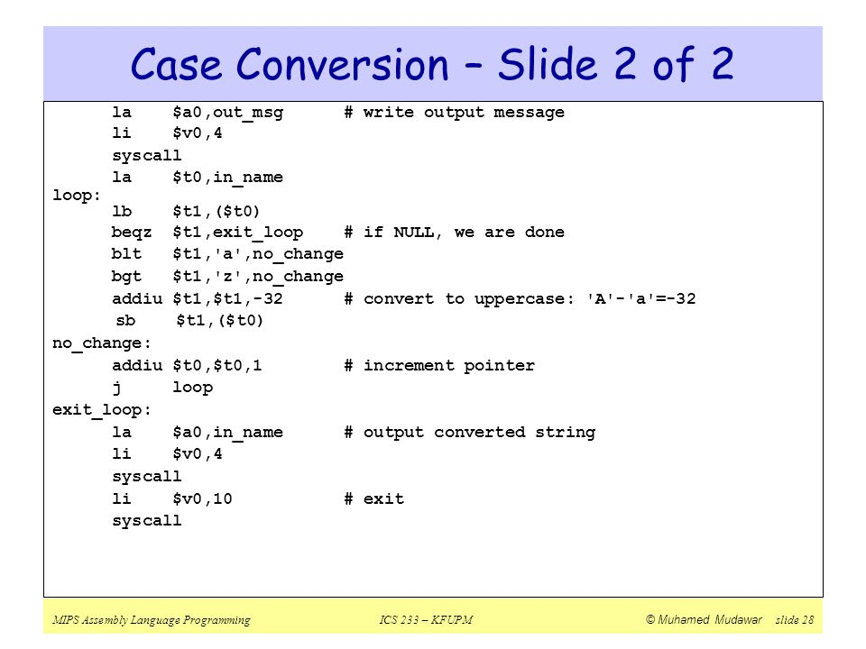 Case Conversion – Slide 2 of 2