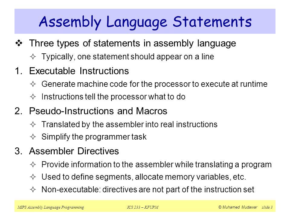 Assembly Language Statements