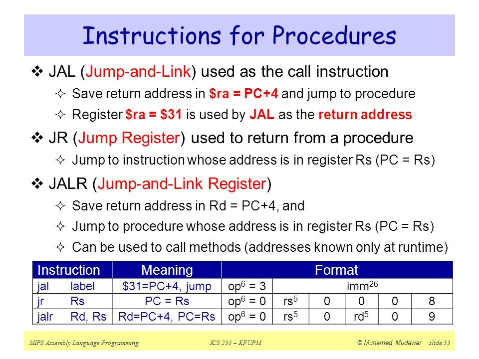 Instructions for Procedures