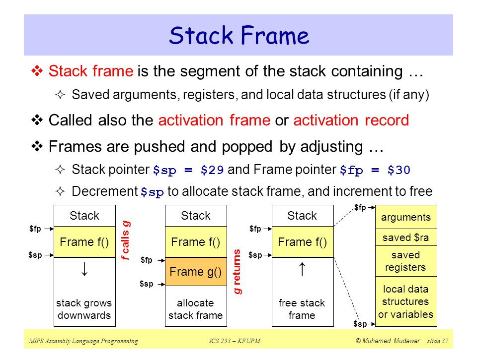 Stack Frame Stack frame is the segment of the stack containing …