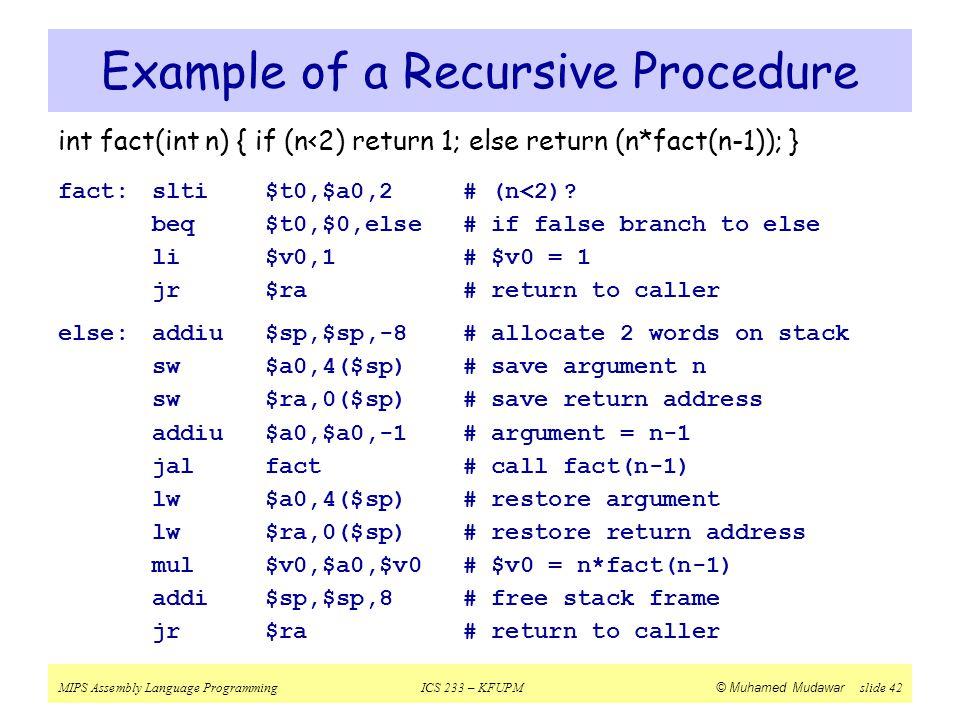 Example of a Recursive Procedure