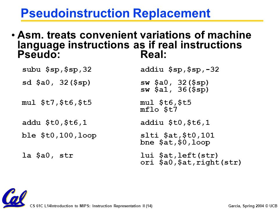Pseudoinstruction Replacement
