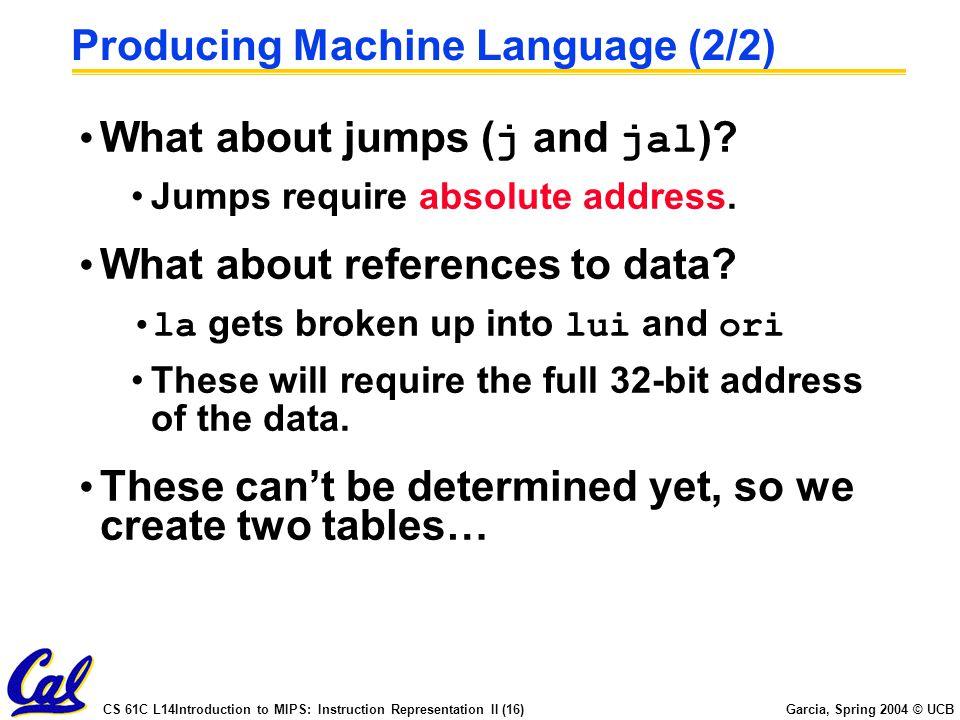 Producing Machine Language (2/2)