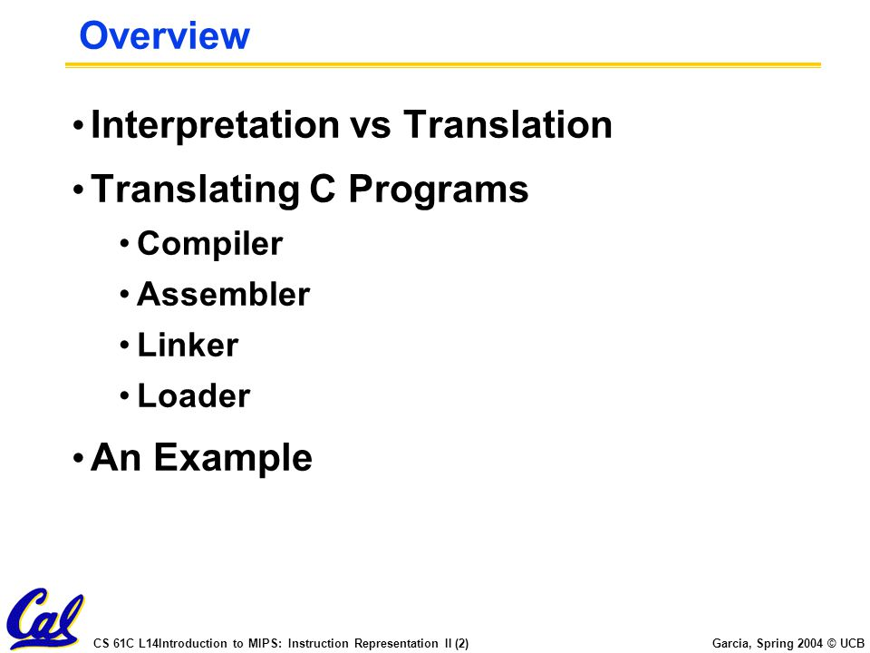 Interpretation vs Translation Translating C Programs