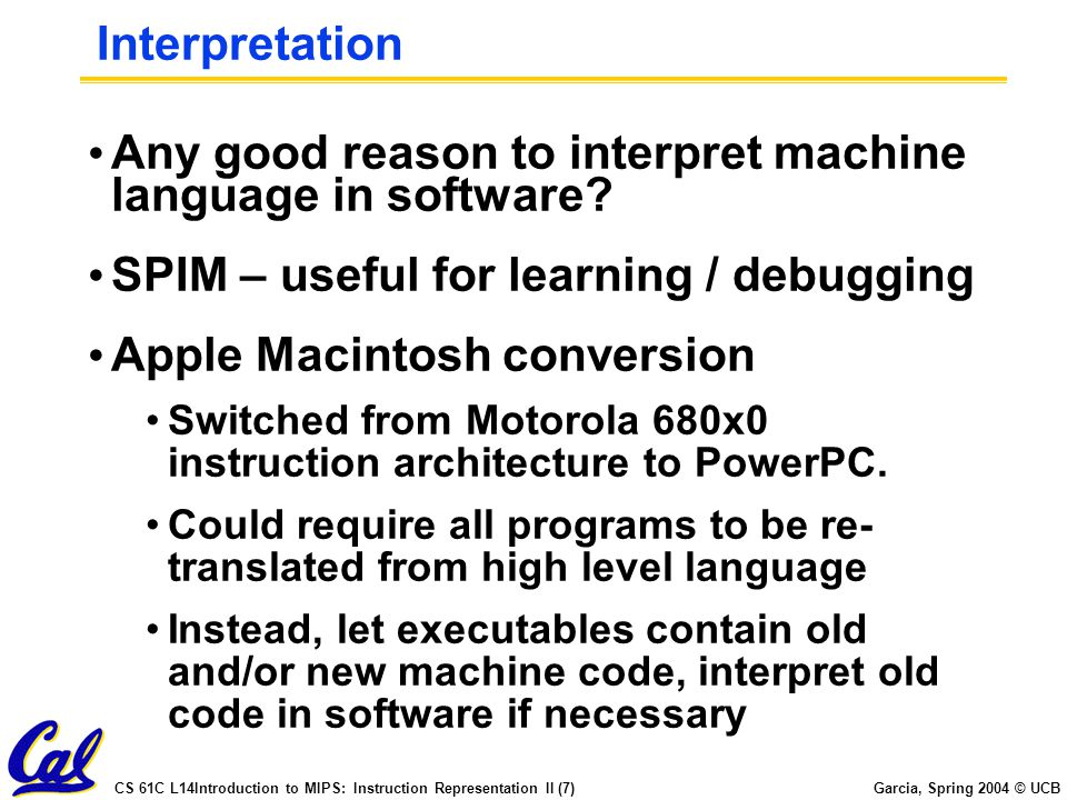 Any good reason to interpret machine language in software