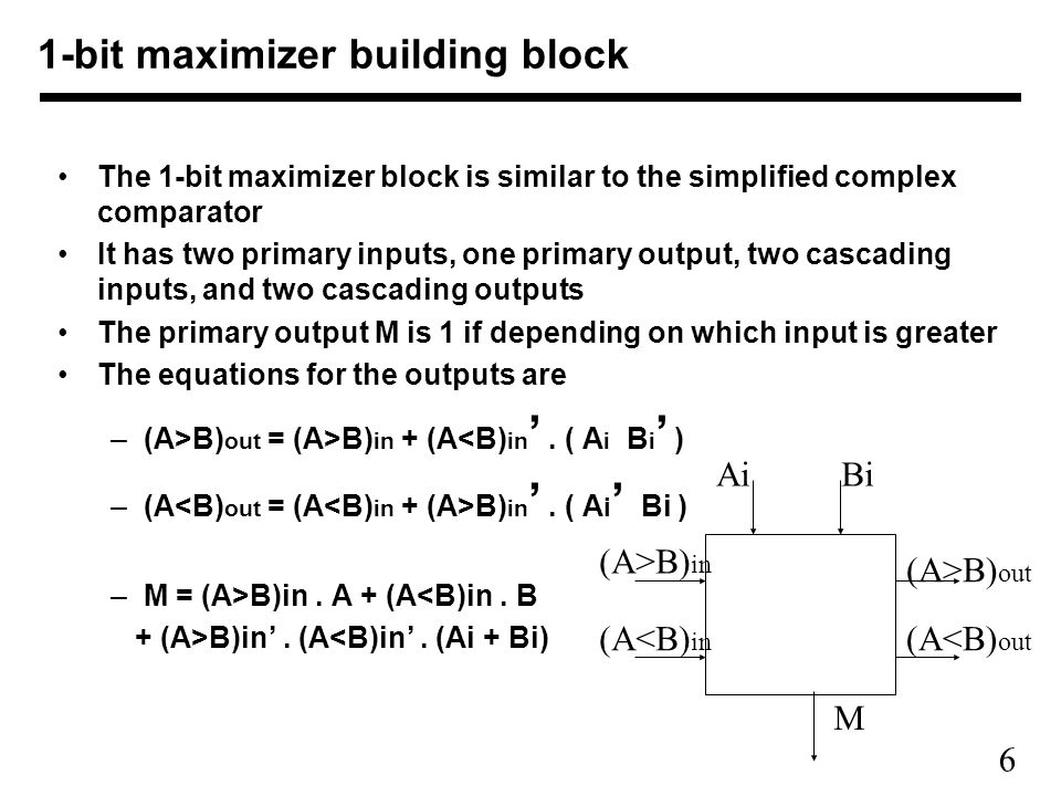 1-bit maximizer building block
