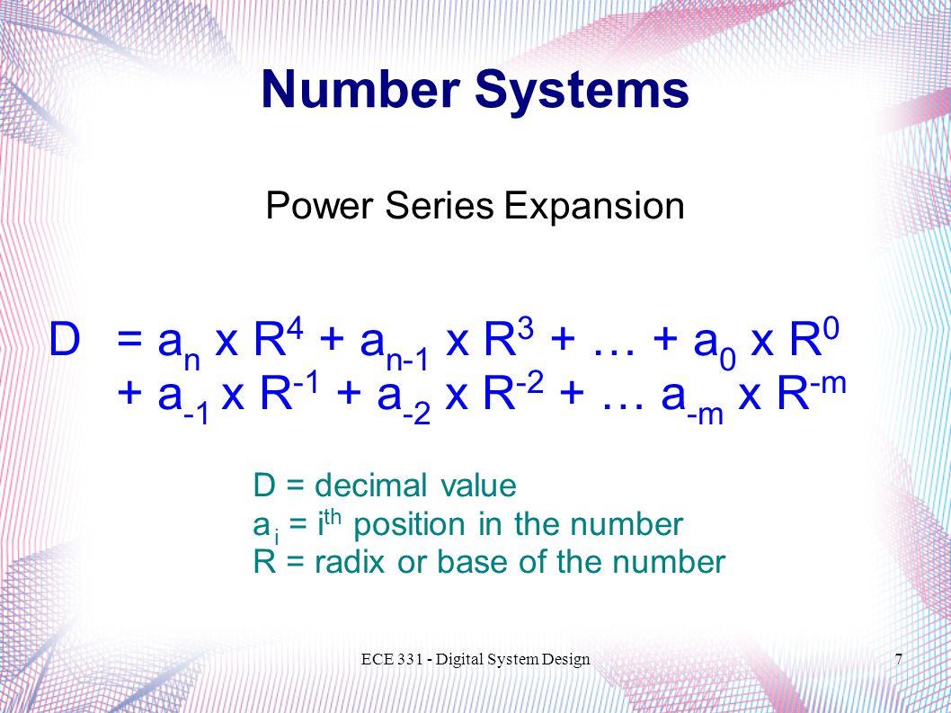 Number Systems D = an x R4 + an-1 x R3 + … + a0 x R0