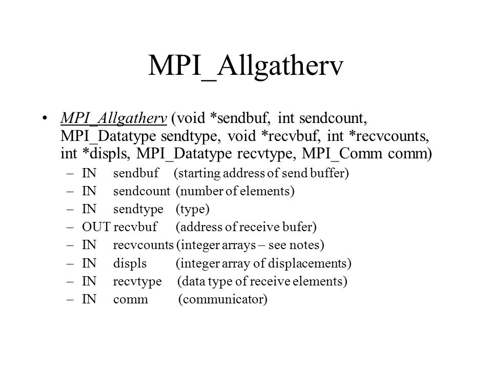 MPI_Allgatherv