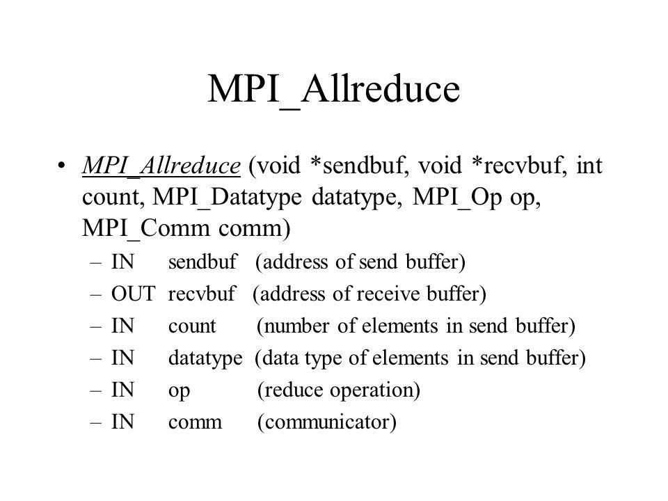 MPI_Allreduce MPI_Allreduce (void *sendbuf, void *recvbuf, int count, MPI_Datatype datatype, MPI_Op op, MPI_Comm comm)