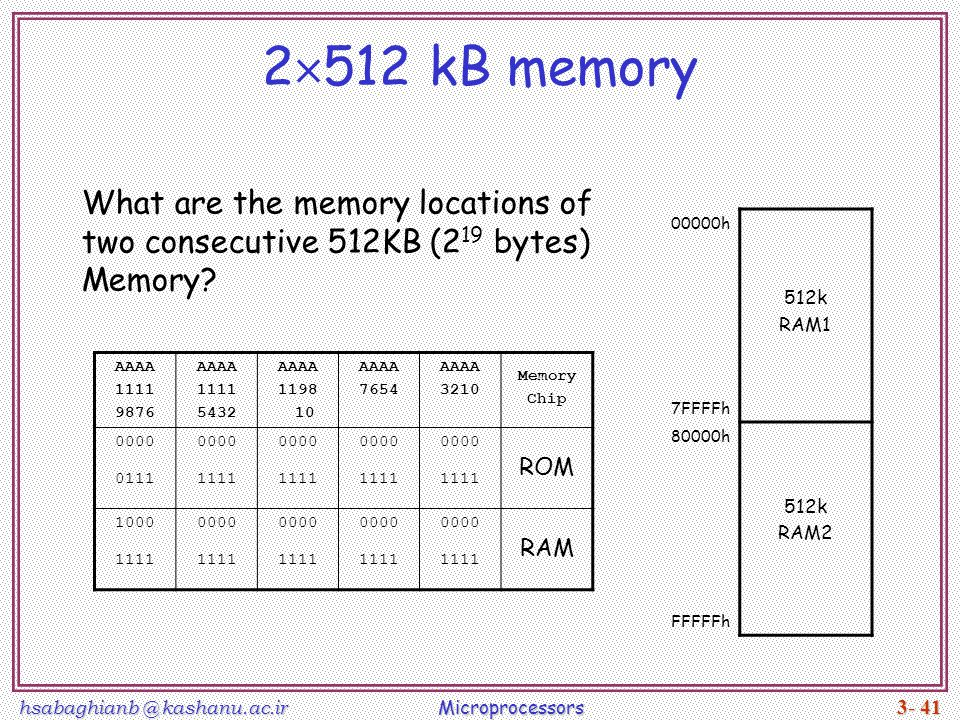 2512 kB memory What are the memory locations of two consecutive 512KB (219 bytes) Memory 00000h.