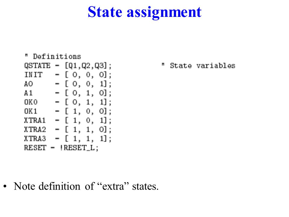 State assignment Note definition of extra states.