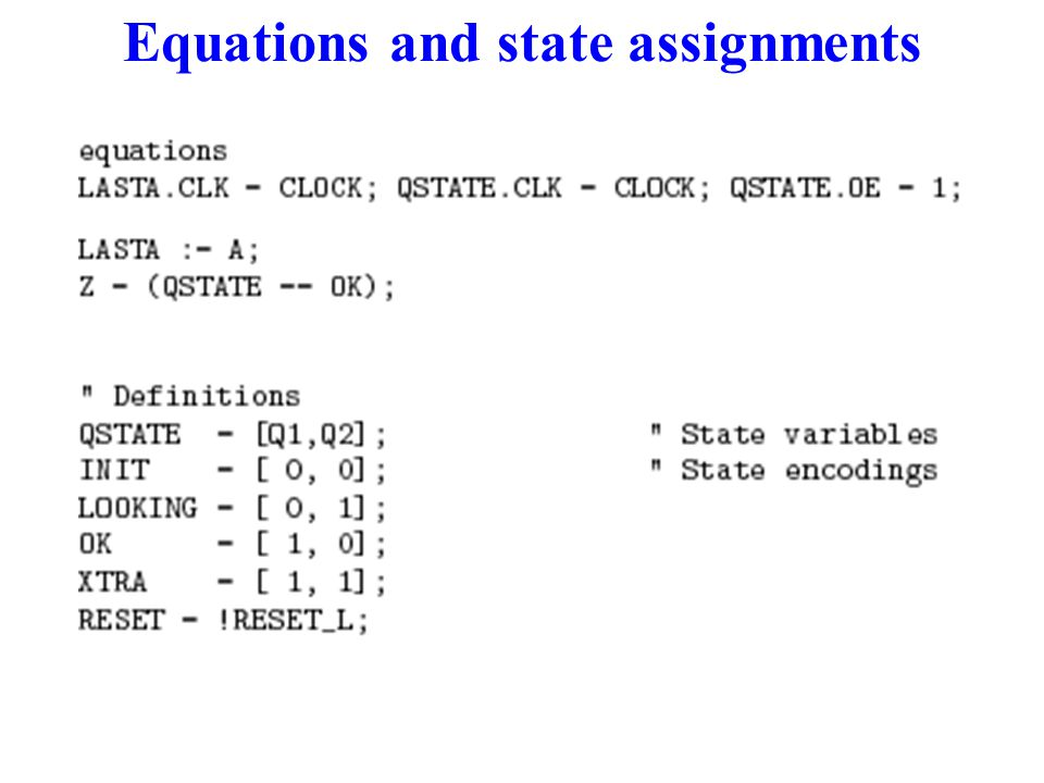 Equations and state assignments