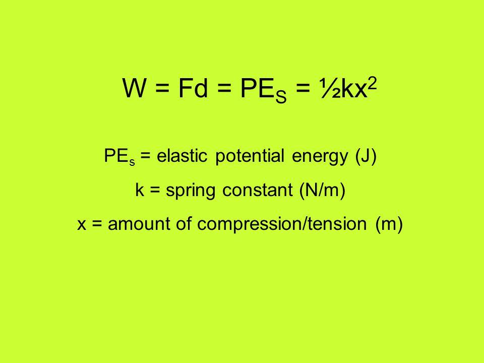 W = Fd = PES = ½kx2 PEs = elastic potential energy (J)
