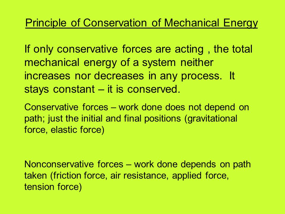 Principle of Conservation of Mechanical Energy