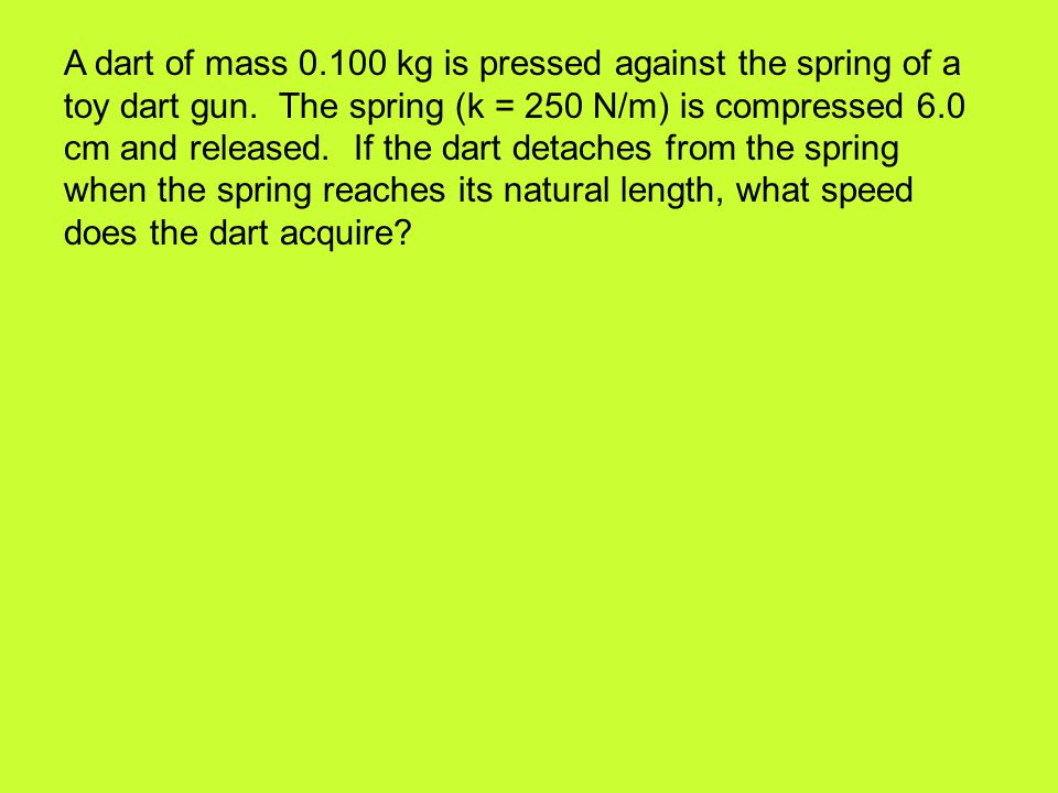 A dart of mass 0.100 kg is pressed against the spring of a toy dart gun.