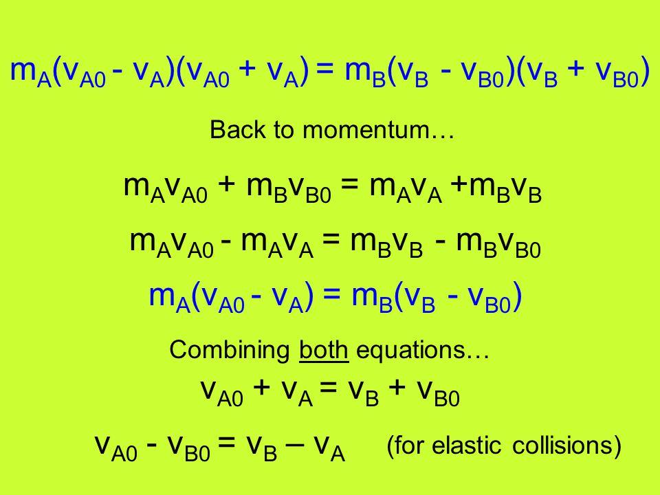 mA(vA0 - vA)(vA0 + vA) = mB(vB - vB0)(vB + vB0)