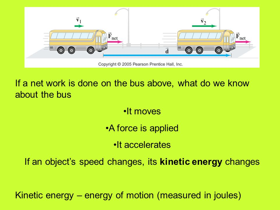 If an object's speed changes, its kinetic energy changes