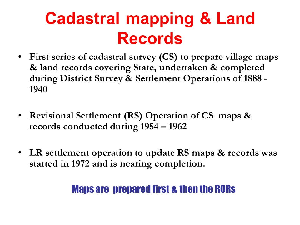 Cadastral Surveying And Mapping : Digitization of cadastral maps its integration with