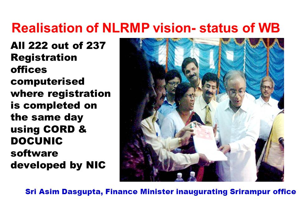 Realisation of NLRMP vision- status of WB