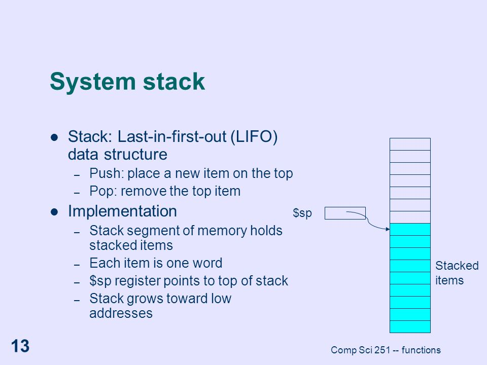 System stack Stack: Last-in-first-out (LIFO) data structure