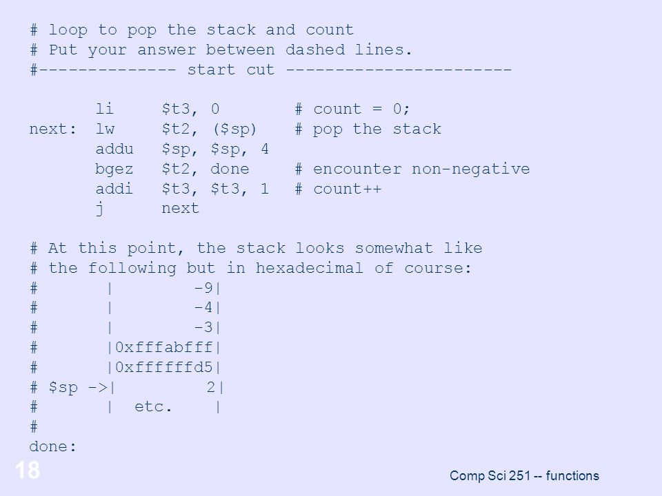 # loop to pop the stack and count
