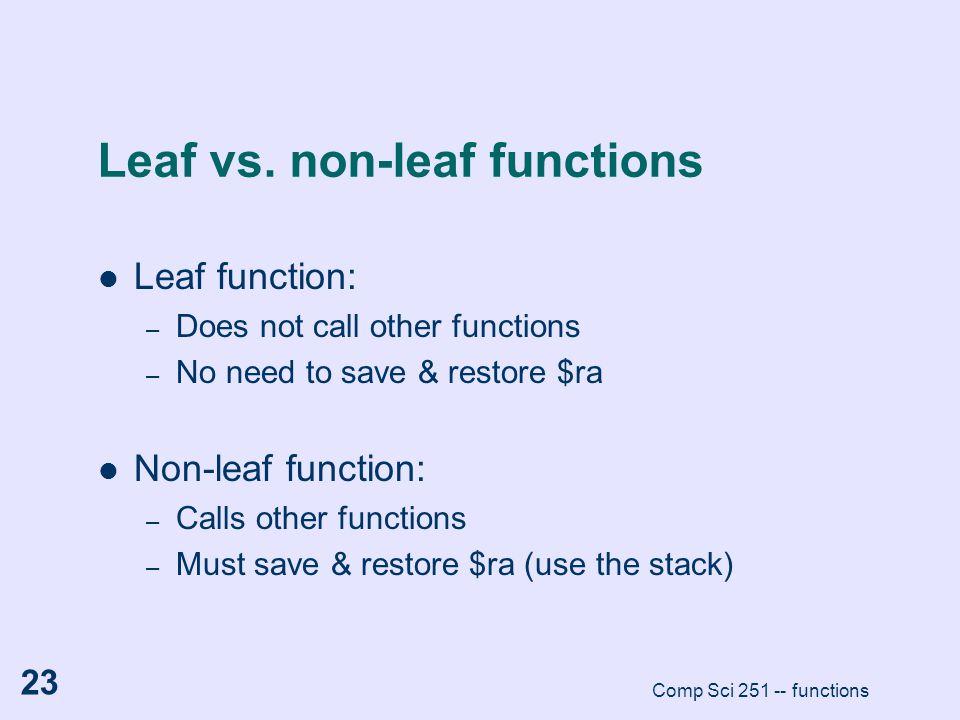 Leaf vs. non-leaf functions