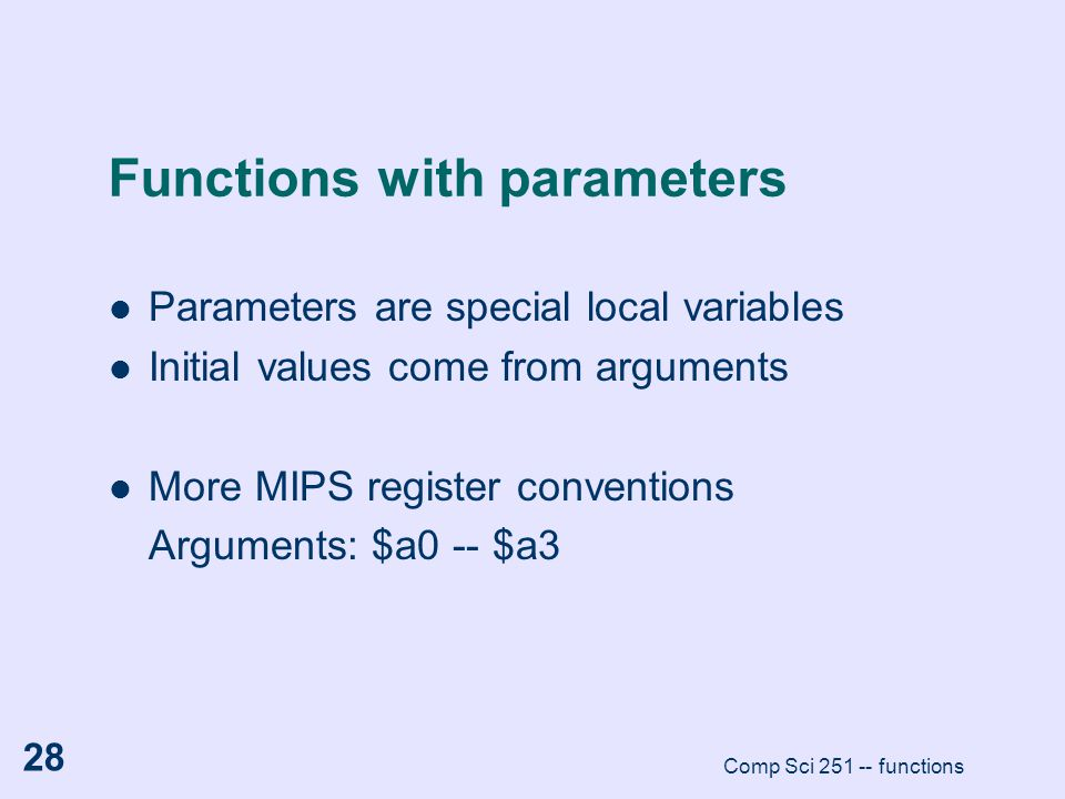 Functions with parameters