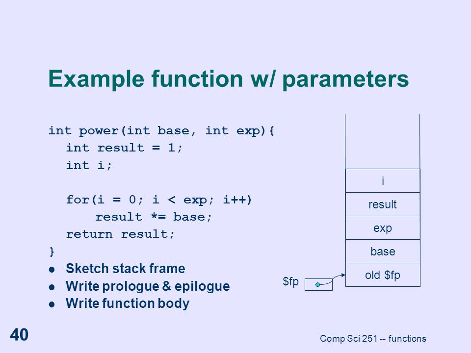 Example function w/ parameters