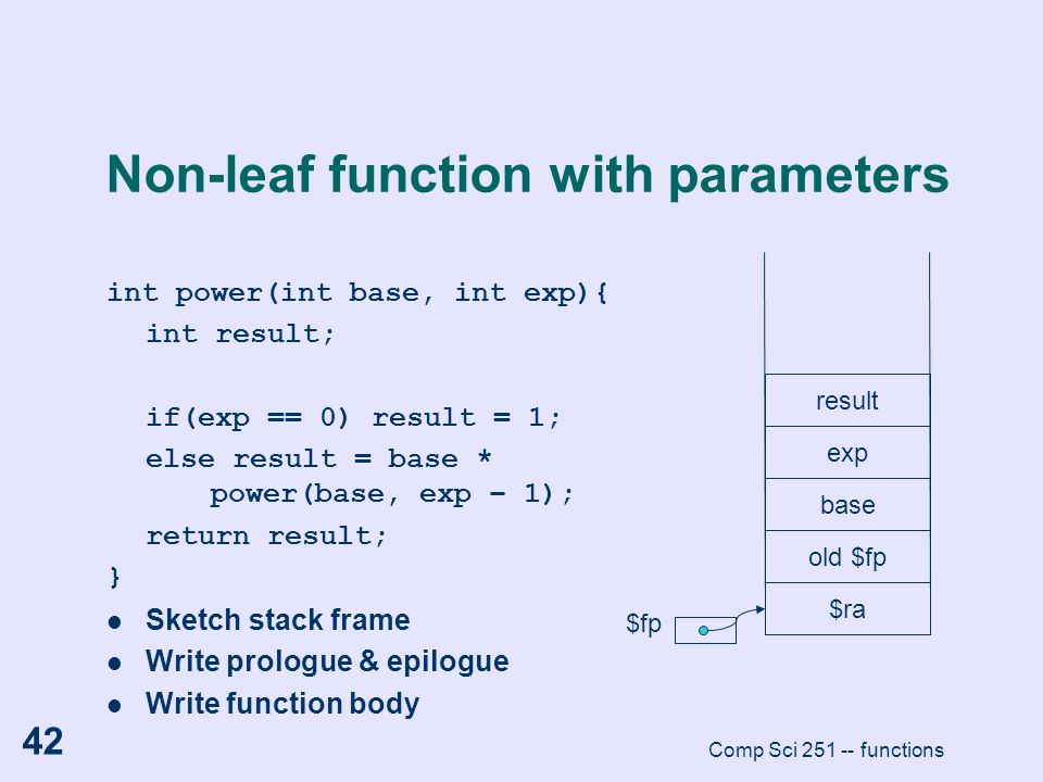 Non-leaf function with parameters