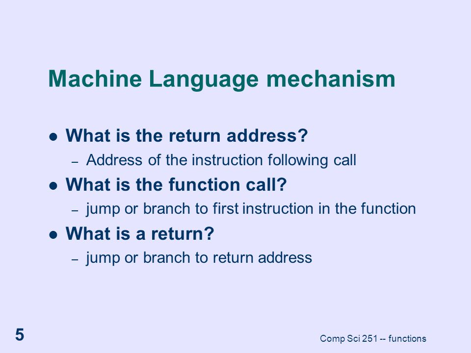 Machine Language mechanism