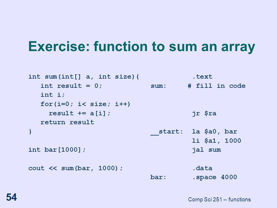 Exercise: function to sum an array