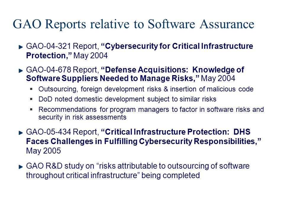 GAO Reports relative to Software Assurance