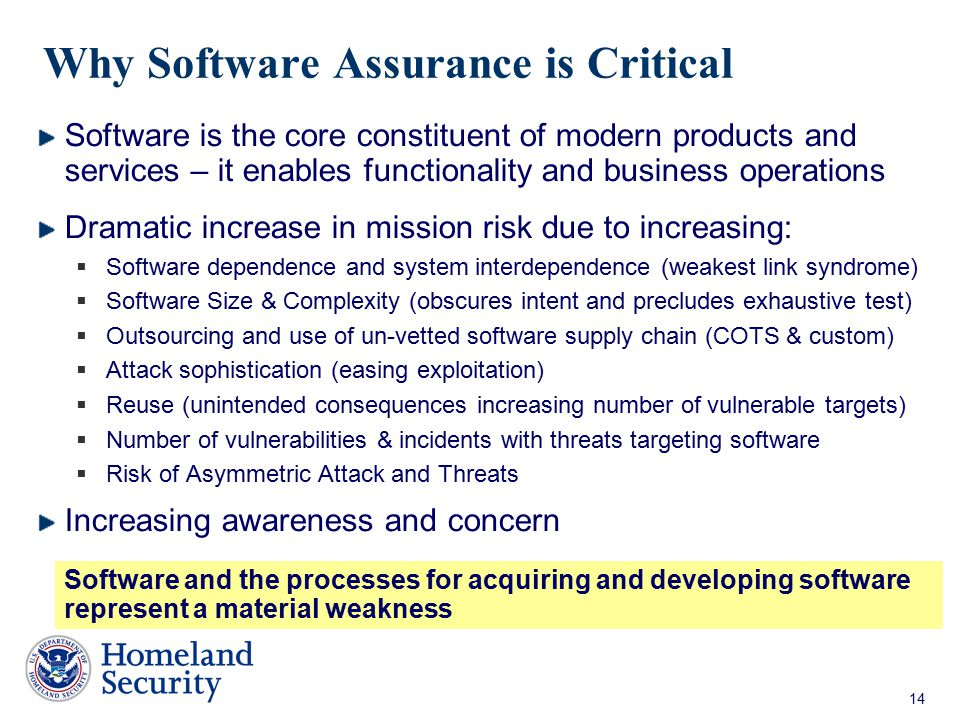 Why Software Assurance is Critical