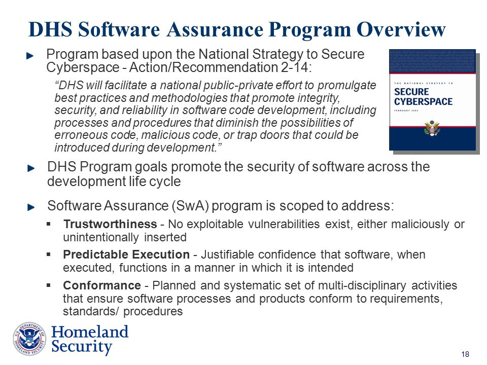 DHS Software Assurance Program Overview