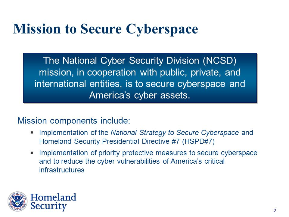 Mission to Secure Cyberspace