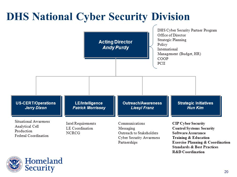 DHS National Cyber Security Division