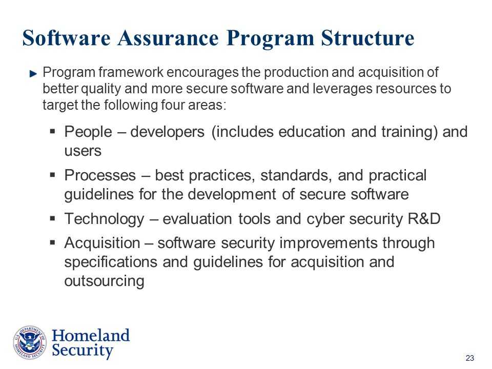 Software Assurance Program Structure