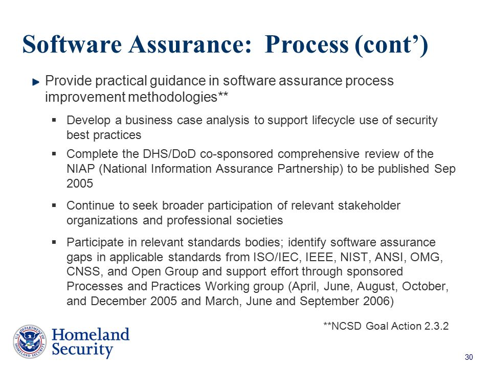 Software Assurance: Process (cont')