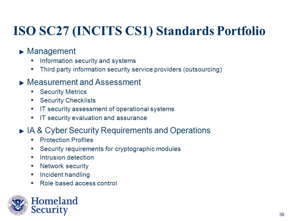 ISO SC27 (INCITS CS1) Standards Portfolio