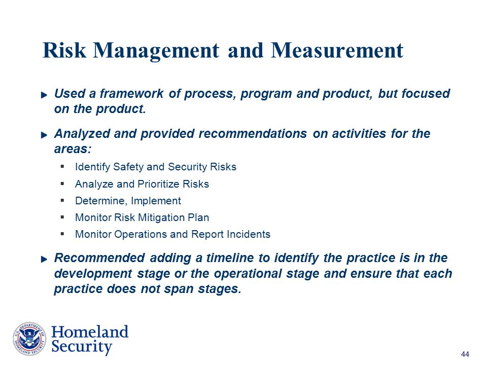 Risk Management and Measurement