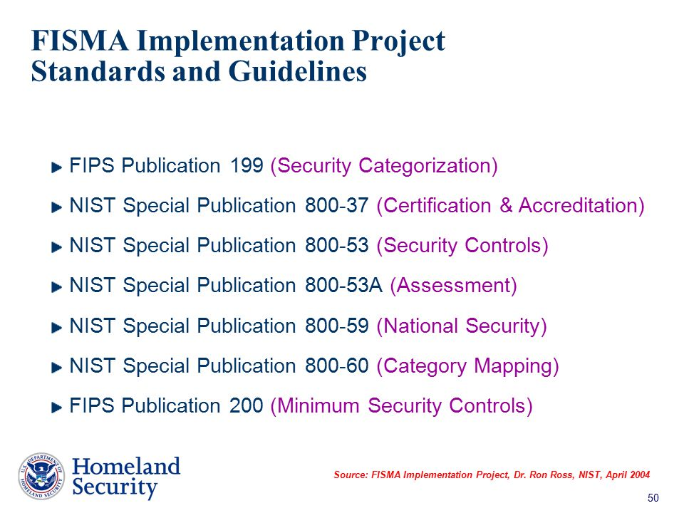 FISMA Implementation Project Standards and Guidelines