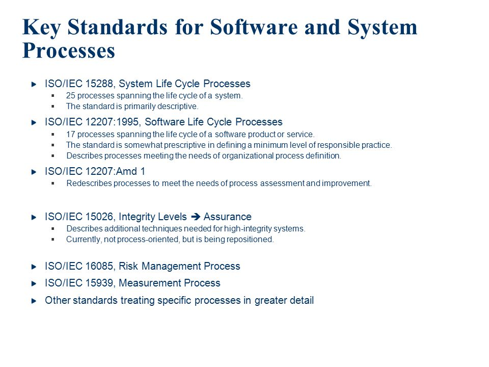 Key Standards for Software and System Processes