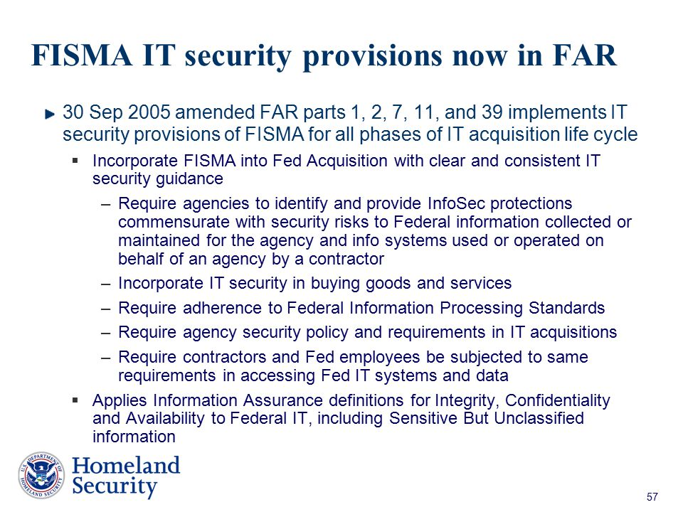 FISMA IT security provisions now in FAR