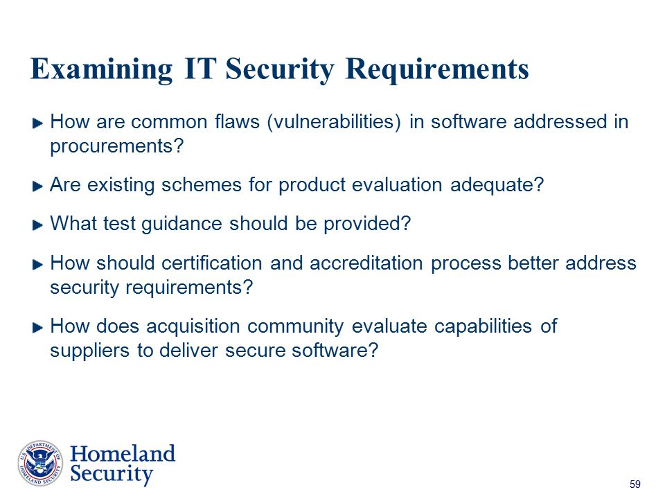 Examining IT Security Requirements