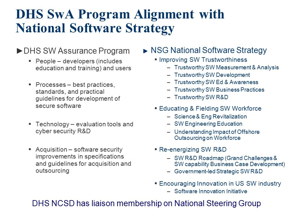 DHS SwA Program Alignment with National Software Strategy