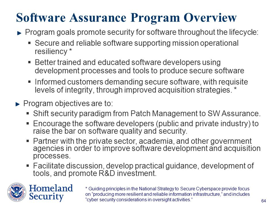 Software Assurance Program Overview