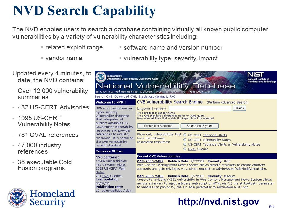 NVD Search Capability http://nvd.nist.gov